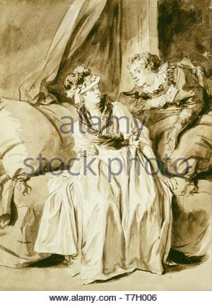 Jean-Honore-Fragonard-The Letter or The Spanish Conversation - Stock Photo