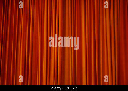 Red stage curtain at the theatre - Stock Photo