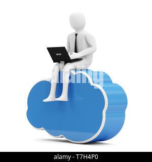 3d Man with Laptop sitting on Cloud Computing Symbol - Stock Photo