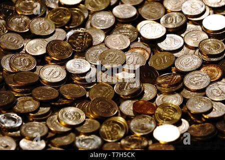 Turkish Lira Coins close up view - Stock Photo