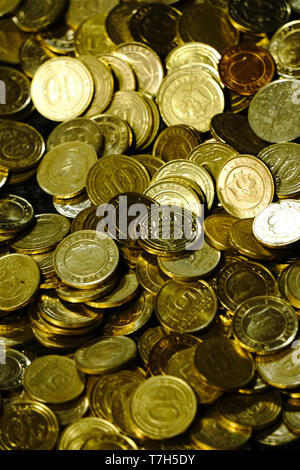 Turkish Lira Coins close up view - Stock Photo