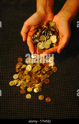 Turkish Lira Coins close up - Stock Photo
