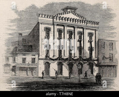 Appearance of Ford's Theatre, Washington, DC, after the assassination of Abraham Lincoln - Stock Photo