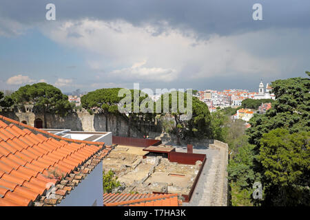 View of archaeological site and Alfama from the bell tower of the Torre de Igreja do Castelo de Sao Jorge in Lisbon, Portugal EU   KATHY DEWITT - Stock Photo
