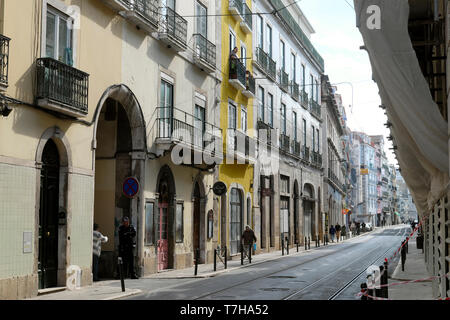 View of apartment buildings and shops along Rua da Boavista street in the city of Lisbon Portugal Europe EU  KATHY DEWITT - Stock Photo