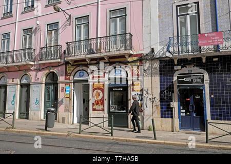 Police station sign on shop front along Rua da Boavista street in the city of Lisbon Portugal Europe EU  KATHY DEWITT - Stock Photo