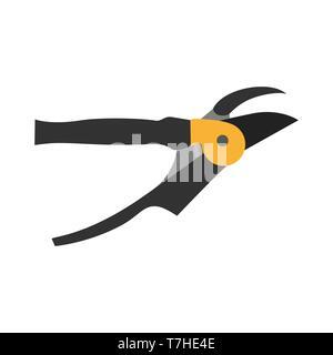 Shears pruning icon garden gardening scissors vector tree tool white equipment silhouette black - Stock Photo