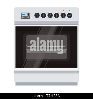 Oven stove vector icon illustration. Food cooking kitchen pizza isolated cooker. Microwave home electric symbol flat - Stock Photo