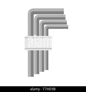 Allen wrench key vector tool icon illustration repair spanner work. Equipment set screw construction object isolated white - Stock Photo
