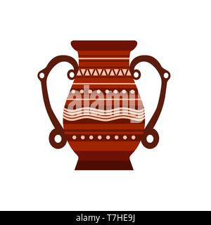 Jug clay vector pottery pot vase illustration ceramic pither milk. Ancient isolated jar old icon brown. Craft bowl - Stock Photo