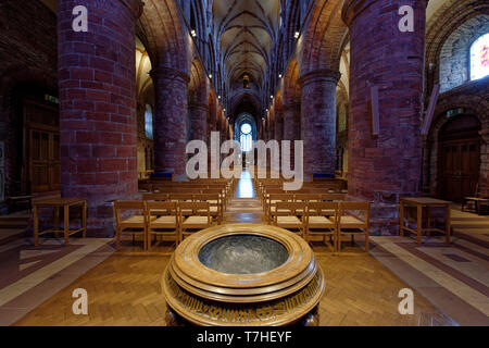 The beautiful interior of St Magnus Cathedral, Britains most northerly Cathedral in the lovely city of Kirkwall in Orkney - Stock Photo