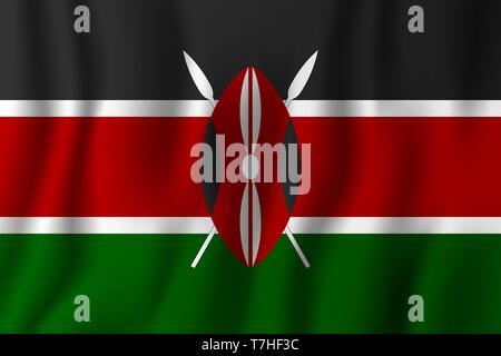 Kenya realistic waving flag vector illustration. National country background symbol. Independence day. - Stock Photo