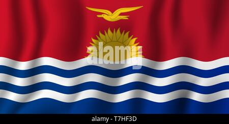 Kiribati realistic waving flag vector illustration. National country background symbol. Independence day. - Stock Photo