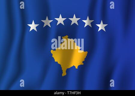 Kosovo realistic waving flag vector illustration. National country background symbol. Independence day. - Stock Photo
