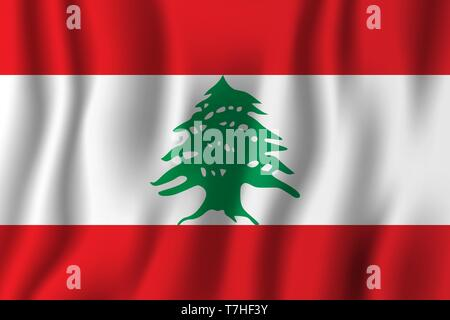 Lebanon realistic waving flag vector illustration. National country background symbol. Independence day. - Stock Photo
