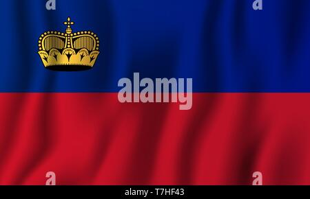 Liechtenstein realistic waving flag vector illustration. National country background symbol. Independence day. - Stock Photo