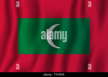 Maldives realistic waving flag vector illustration. National country background symbol. Independence day. - Stock Photo