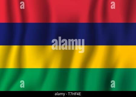 Mauritius realistic waving flag vector illustration. National country background symbol. Independence day. - Stock Photo