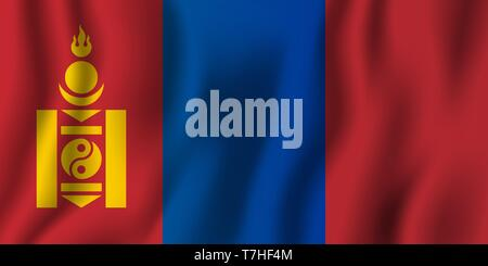 Mongolia realistic waving flag vector illustration. National country background symbol. Independence day. - Stock Photo