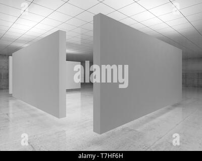 Abstract empty minimalist interior, white stands installation levitating in exhibition gallery with walls made of polished concrete and shiny ceiling. - Stock Photo