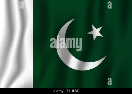Pakistan realistic waving flag vector illustration. National country background symbol. Independence day. - Stock Photo