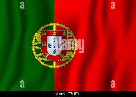 Portugal realistic waving flag vector illustration. National country background symbol. Independence day. - Stock Photo