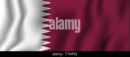 Qatar realistic waving flag vector illustration. National country background symbol. Independence day. - Stock Photo