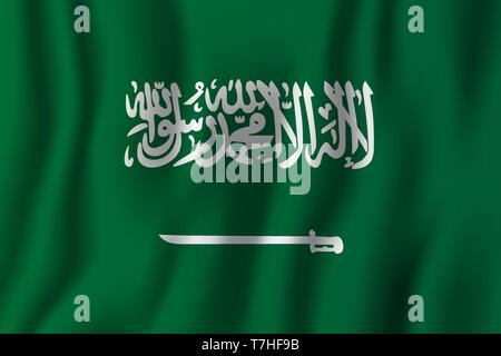 Saudi Arabia realistic waving flag vector illustration. National country background symbol. Independence day. - Stock Photo