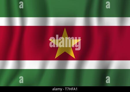 Suriname realistic waving flag vector illustration. National country background symbol. Independence day. - Stock Photo