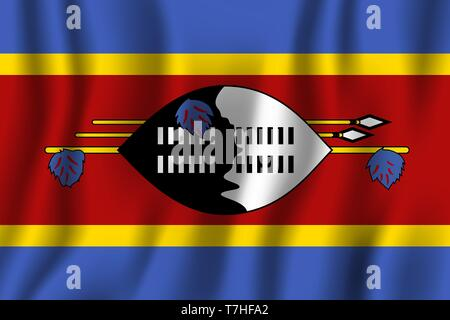 Swaziland realistic waving flag vector illustration. National country background symbol. Independence day. - Stock Photo