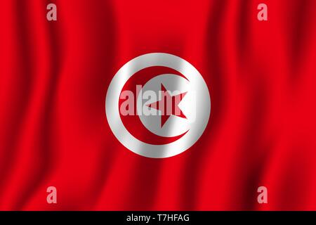 Tunisia realistic waving flag vector illustration. National country background symbol. Independence day. - Stock Photo