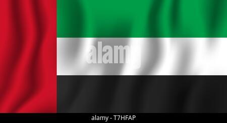 United Arab Emirates realistic waving flag vector illustration. National country background symbol. Independence day. - Stock Photo