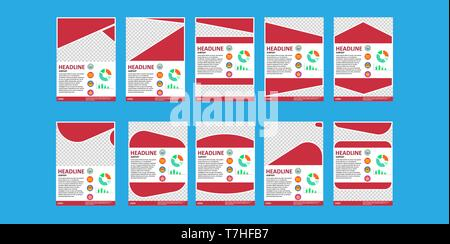 Business brochure design template. Flyer isolated on white, marketing layout cover coroprate presentation. Creative sheet vector. Empty invitation lea - Stock Photo