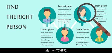 Find the right person people design vector. Human isolated concept icon business job. Happy search success direction choose. Education businessman emp - Stock Photo