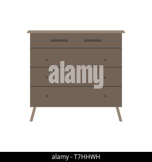 Drawer brown box style equipment retro with shelf. Apartment contemporary simple wooden furniture - Stock Photo