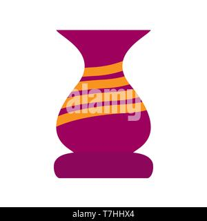 Amphora flat vector traditional classic museum bowl vase. Ancient clay icon myth - Stock Photo