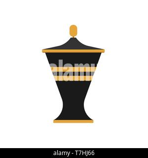 Urn flat vector traditional classic museum bowl vase. Ancient clay icon myth - Stock Photo