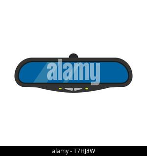 Mirror car automobile drive vector illustration. Rear view auto transport isolated behind glass road. Inside frame icon - Stock Photo