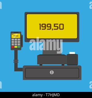 POS terminal buy business paying technology vector icon. Shopping commerce cashless flat card. Cash reader transfer - Stock Photo
