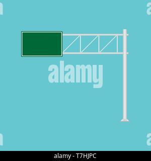 Freeway road sign green direction way vector icon. Urban vehicle information route interstate shield. Roadside panel notice - Stock Photo