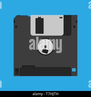 Floppy disk diskette vintage black backup device obsolete vector icon. Computer memory drive magnetic square datum - Stock Photo