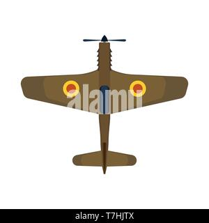 Retro plane top view vector icon aircraft aviation. Air travel biplane isolated transport above. Cartoon classic vehicle jet - Stock Photo