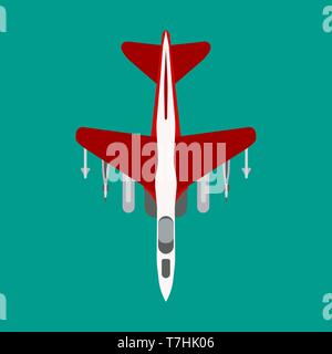 Fighter plane vector flat icon top view. Attack jet aviation bomb transport. Graphic silhouette combat force defense - Stock Photo