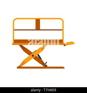 Scissor lift construction equipment engineering crane vector icon. Elevator industrial hydraulic platform machine aerial - Stock Photo