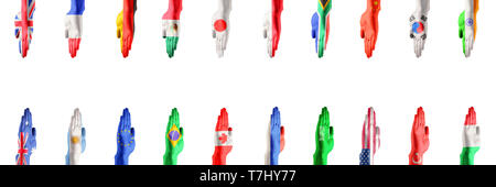 Hands colored in flags of participating countries of The Group of Twenty, major advanced and emerging economies on white background. Collage. Concept of international economical relationships. - Stock Photo
