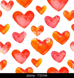Seamless pattern with hand drawn watercolor hearts. Hand painted romantic ornament for valentines day. Neatly isolated on white background. - Stock Photo