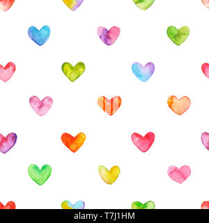 Seamless pattern with hand drawn watercolor hearts. Hand painted romantic ornament for valentines day. Carefully isolated  on white background. - Stock Photo
