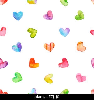 Seamless pattern with hand drawn watercolor hearts. Hand painted romantic ornament for valentines day.  Isolated on white background. - Stock Photo