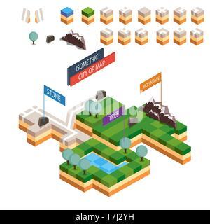 Isometric map city vector road set kit building isolated design urban estate - Stock Photo