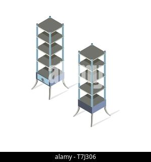 Shelf isometric vector white empty store isolated background illustration wood - Stock Photo